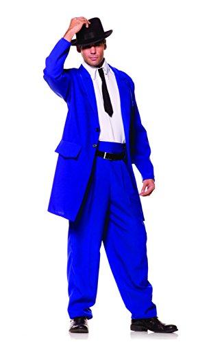 Underwraps Costumes Men's Zoot Suit Mobster Costume, Blue/White/Black, One Size