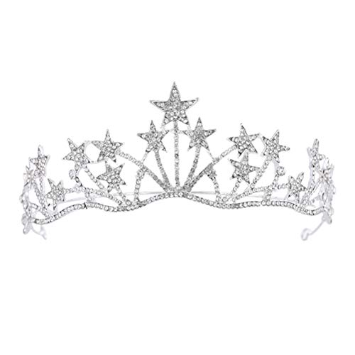 - Frcolor Crystal Rhinestone Tiara Crown,Star Bridal Wedding Princess Pageant Queen Crown Headband