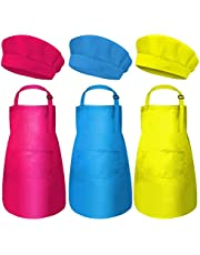 Kids Chef Hat Apron Set Adjustable Cotton Aprons Kitchen Bib Aprons for Boys Girls, Cooking Baking Wear with Pocket 3 Pieces (Pink,Yellow,Blue)