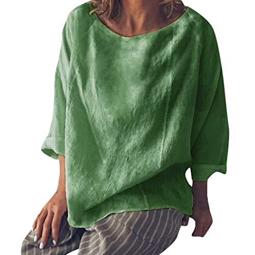 (GOWOM Loose Fitting Tops Short Sleeve Tunic Tops Tops Yellow Tops Linen Tops high Tops Long Tank Tops Summer Tank Tops Loose Tank Tops (☂Green,US:16/CN:XX-Large))