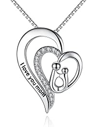 I Love You Mom Heart Pendant Necklace, Gifts for mom, Mother-in-Law Necklace