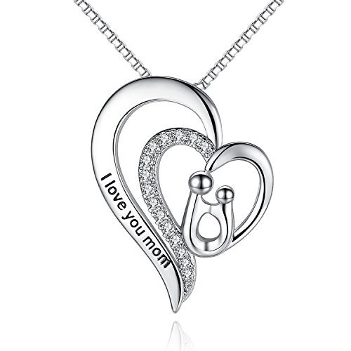 Milamiya I Love You Mom Heart Pendant Necklace for Mothers Birthday Gifts from Daughter Son, Jewelry for Women, Gifts for mom, Grandma, Thanksgiving, Christmas, Anniversary Day Gifts