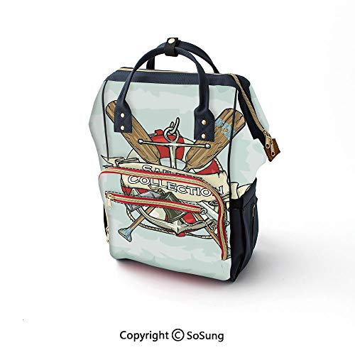 Nautical Decor Diaper Backpack,Sailing Collection Yacht Club Bell Antiques Historical Items Long Glass Life Saver Multi-Function Travel Backpack,16.5x10.6x6.7inch,