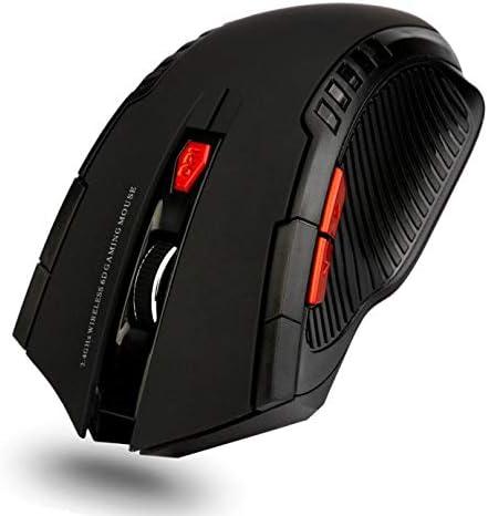 Calvas New 1pc 1200DPI USB Wireless Mouse Optical Computer Mouse 2.4GHz Ergonomic Mice+1PC USB Receiver For Laptop PC fe8 Color: Black