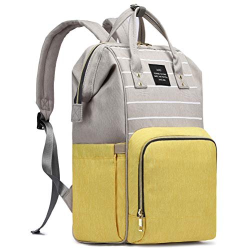 HaloVa Diaper Bag, Trendy Baby Nappy Backpack, Anti-Theft Travel Shoulders Bag, Large Maternity Infant Nursing Rucksack, with Insulated Milk Bottle Pockets and Wet Clothing Pocket, Yellow Gray