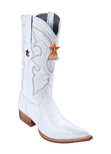 - Men's 3X-Toe White Genuine Leather Teju Lizard Western Boots W/Cowboy Heel