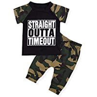 Infant Baby Boy Clothes Short Sleeve Funny Letter Sweatshirt Top + Camouflage Shorts Summer Outfit Set