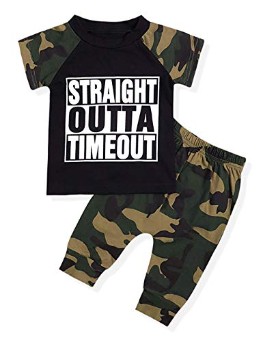 - Infant Baby Boy Clothes Short Sleeve Funny Letter Sweatshirt Top + Camouflage Shorts Summer Outfit Set (Camouflage, 2-3 T)