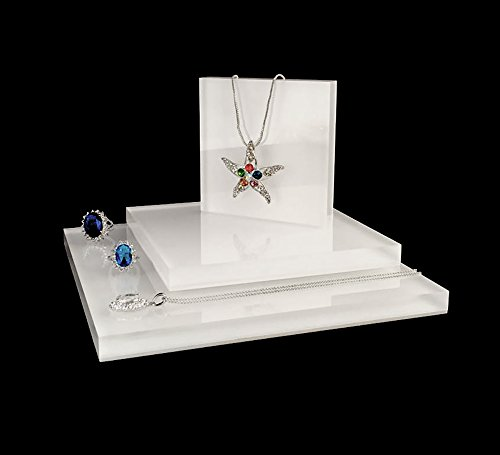 Acrylic Jewelry Display Platform Stand Holder White Fine Exhibition Fashion Store Gallery Trade Show White (Set of 3) by Svea Display (Image #5)