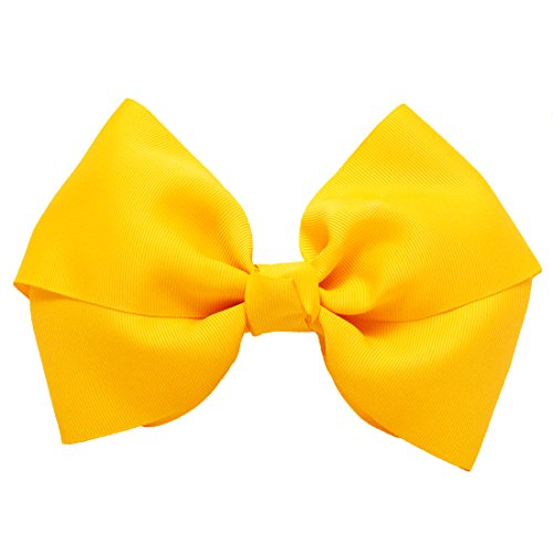 Mia Spirit Bow Barrette-X-Large Grosgrain Ribbon Bow On Auto-Clasp Barrette-Yellow Gold-Measures 7.5