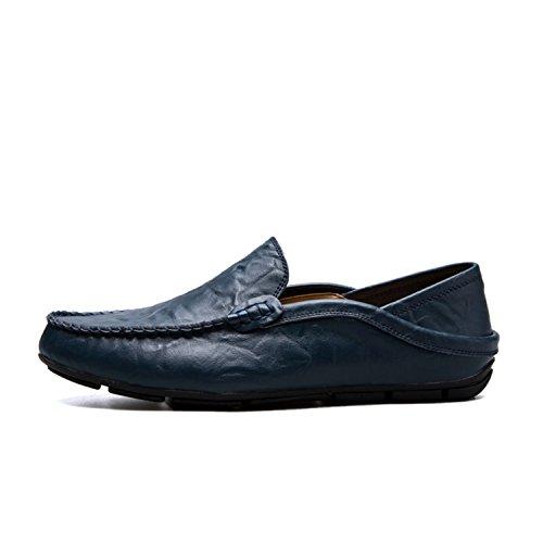 de Mocasines Mocasín Zapatos Slip Barcos Blue de Cuero Male Planos On Zapatos Hombre para Zapatos Genuino Mocasín Hombre Diseñador Bwt1tqR