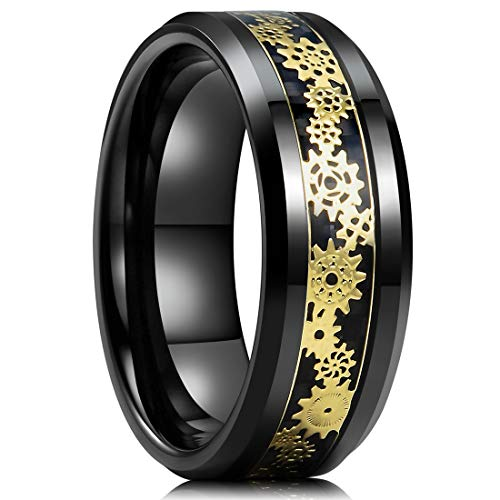 (King Will Mens 8mm Black Tungsten Carbide Ring Gold Gearwheel Black Carbon Fiber Inlay Wedding Band 8)