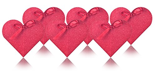 Red Heart-shaped Box With Ribbon for Wedding Party Favor, Wedding Gift Bags, Goodies, Chocolate, Candy, Flowers and Gift Boxes Size 2 5/8 x 5 /8 (Pack ()
