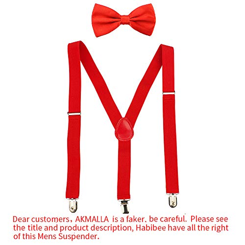 HABIBEE Solid Color Mens Suspender Y Shape with Strong Clips Adjustable Braces (Red)