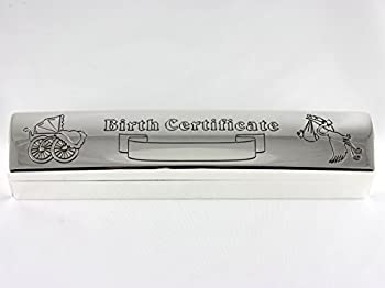 Skyway Destiny Keepsake Birth Certificate Holder Case with Birth Record Paper Silver - Engravable