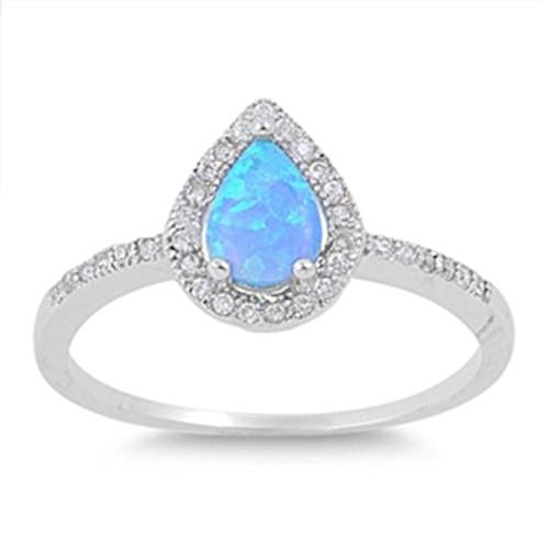 Teardrop Halo Blue Simulated Opal Ring Sterling Silver 925 Size 10