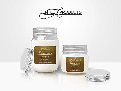 (Gentle K 100% Hand-Poured All Natural Clean Burning Soy Wax Scented Mason Jar Candles with Therapeutic Essential Oil - 13 Fragrances - (Sandalwood) - (Size - 1x16oz &)