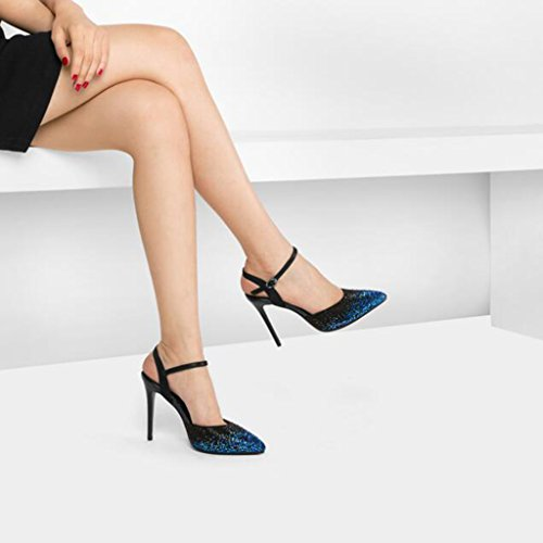 High Heels Fashion Shoes Sandals Heels Black Baotou CJC Open Heels High Rhinestone Toe Heeled Women's High Thin ZP5PqwO