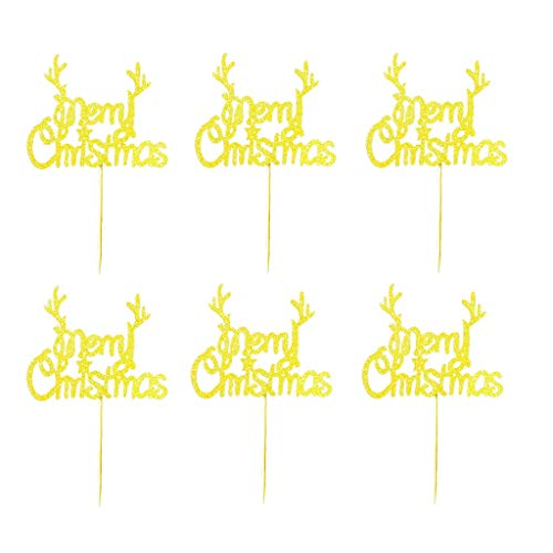JANOU Merry Christmas Gold Gliter Cake Topper Cupcake Picks for Christmas Party Decoration Pack 20pcs