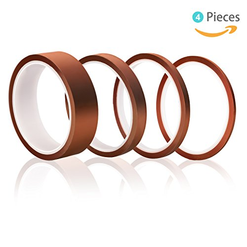High Temp Tape, Elegoo 4 Pack Polyimide High Temperature Resistant Tape Multi-Sized Value Bundle 1/8'', 1/4'', 1/2'', 1'' with Silicone Adhesive for Masking, Soldering etc. (Soldering Wire El)