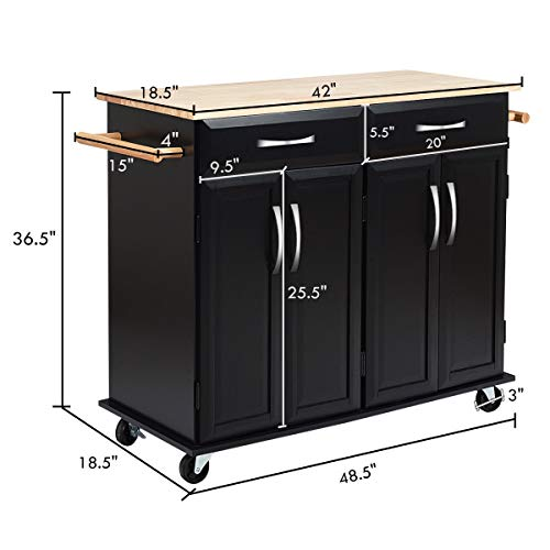 Giantex Kitchen Trolley Cart, Rolling Utility Island w/Rubber Wood Top, Large Storage Easy-Clean with Smooth Lockable Wheels Home Kitchen Carts, Black by Giantex (Image #6)
