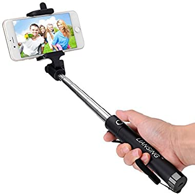 Selfie Stick, LIANSING Bluetooth Self portrait stick One-piece U-Shape ultra compact Foldable and Extendable Selfie-Stick with waterproof Bag for iPhone6 6s 6plus 5s Samsung S7 S6 Black