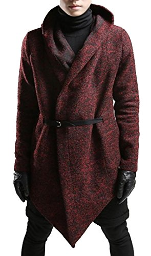 Fulok Mens Winter Open Belted Irregular Hood