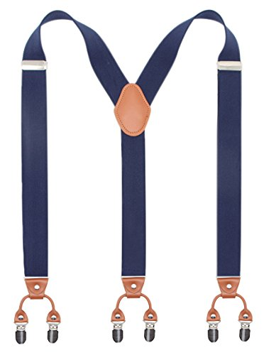 Bioterti Men's Y-Shaped Heavy Duty Suspenders - 6 Metal Clips, Elastic Straps (Navy) -