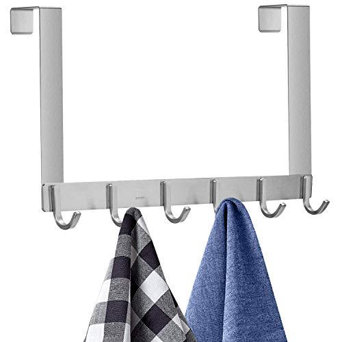 IBosins 1 Pack Over The Door Hook Hanger, Stainless Steel Heavy Duty Organizer Hooks Hanger, 6 Hooks Rack for Heavy Coat, Big Bags, Towel, Robe