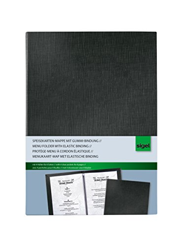 Sigel SM115 Menu Folder with elastic binding, black, with 2 double transparent pockets for 8 pages, for A5 -