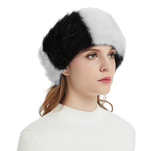 Faux Fur Headbands Outdoor Ear Warmers Earmuffs Ski Hat Winter Warm Elastic Hairbands Head Wraps for Women by Aurya(Black With White)