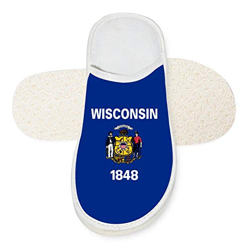 - US Flag of Wisconsin Unisex Comfort Indoor Slip-On Sandals Flat Sleeppers Anti-slip Flat Men House Slippers Flip Flops7 B(M) US