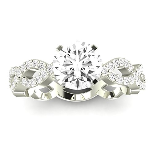 0.55 Carat t.w. 14K White Gold Round Eternity Love Twisting Split Shank Diamond Engagement Ring I-J SI2-I1 (0.55 Ct Tw Diamond)
