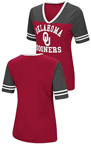 Oklahoma Ladies T-shirt - Colosseum Ladies Oklahoma Sooners Smaller Fit Whole Package Synthetic V Neck T Shirt (M=4/6)