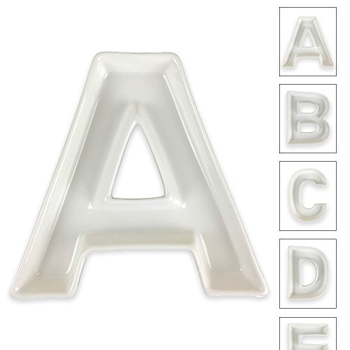 Just Artifacts - 5.5inch White Ceramic Letter Dish - Letter: A - Decorative Dishes for Weddings, Anniversarys, Baby Showers, Birthday Parties and Life Celebrations!