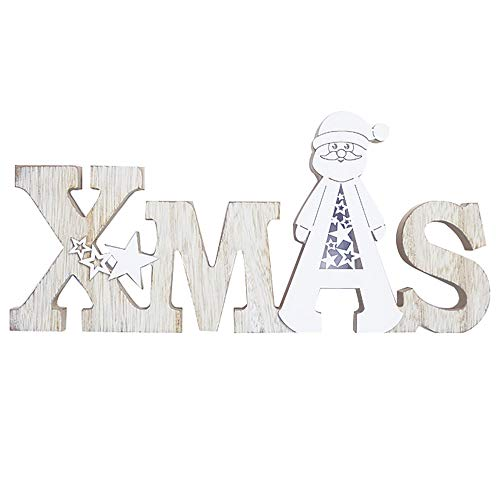 Iusun Christmas Decorations DIY Wooden Christmas Letter Hanging Xmas Tree Pendants DIY Ornament Wedding Party Holiday New Year Decor (B)