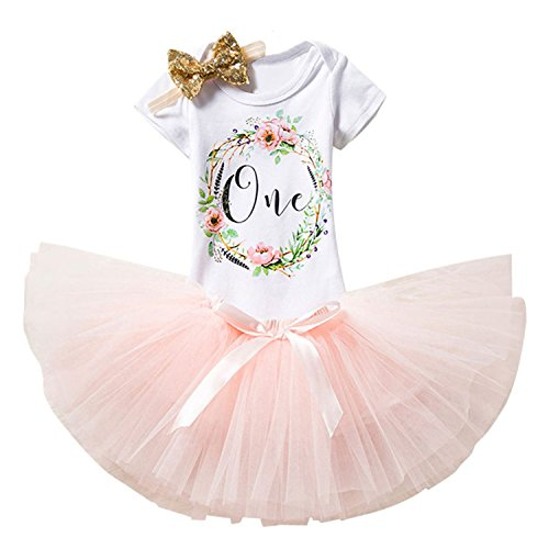 TTYAOVO Girl Newborn 3pcs Baby's 1st Birthday Set/Outfits with Romper + Tutu Dress + Headband Size 1 Years Peach(with (Pink Baby Girl Outfit)