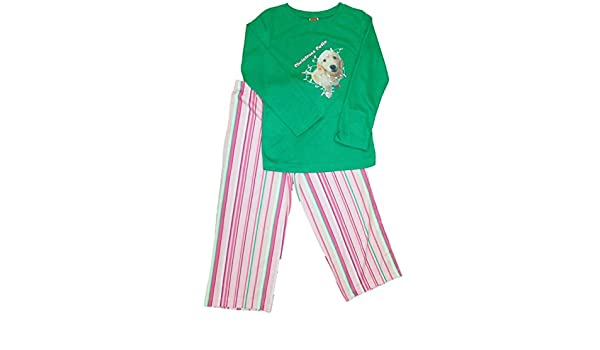 cca0daea43 Amazon.com  Girls Christmas Cutie Labrador Dog Pajamas Pink   Green Holiday  Sleep Set Medium  Clothing