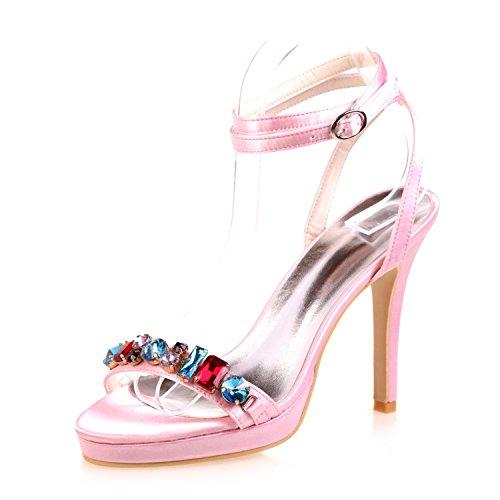 Nuit Des Peep Femmes Chaussures Cristal yc Rouge Party L Bleu Mariage amp; Toe Plate Pink 33a Night forme 5915 De IwzgqxS