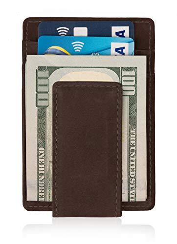 Mr. Wallet Money Clip Front Pocket Magnetic Genuine Leather Minimalist Slim Thin RFID Blocking Wallets for Men with Gift Box (Dark Brown)