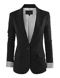 RubyK Womens One Button Tailored Boyfriend Blazer Jacket with Pockets