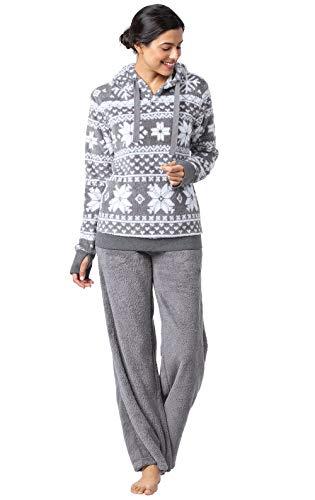 PajamaGram Womens Soft Fleece Pajamas - Womens Winter Pajamas, Gray