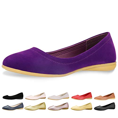CINAK Flats Shoes Women– Slip-on Ballet Comfort Walking Classic Round Toe Shoes (5-5.5 B(M) US/ CN37 / 9.2'', Purple Matte) ()
