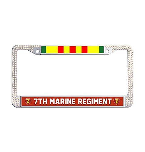 (JiuzFrames 7th Marine Regiment Vietnam Veteran Glitter Rhinestone License Plate Frame, Pure Handmade Bling Rhinestones Waterproof Stainless Steel Crystal Diamond Bling License Plate (Colorful))