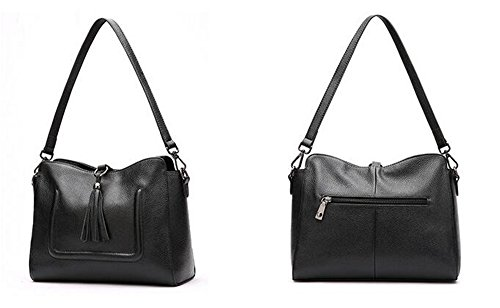 sac tempérament Bag Lady Black cuir d'épaule en Fringe simple sac Messenger Bandoulière Y4tzPqS
