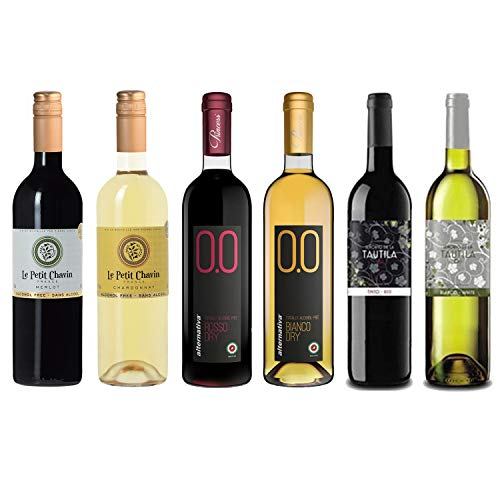 (Red/White Wine Sampler - Six (6) Halal Certified Non-Alcoholic Wines - Le Petit Merlot, Le Petit Chardonnay, Rosso Dry, Bianco Dry, Tautila Tinto, and Tautila Blanco.)