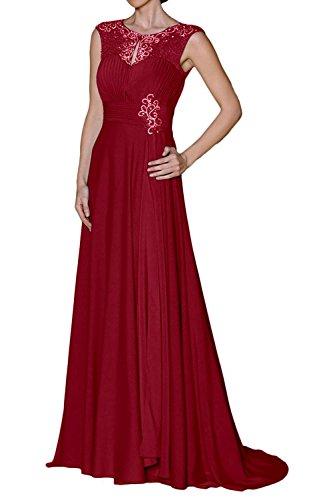La Kleider Langes Braut Festlichkleider Damen Dunkel Elegant Partykleider Rot Abendkleider Brautmutterkleider Formal mia Chiffon 6pwqHn6r