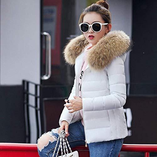 Encapuchado Chaqueta Elegantes Invierno Fit Pluma Caliente Espesar Blanco Outwear Retro Grande Fashion Manga Slim Plumas Acolchada Mujer Larga Talla wYqXXv