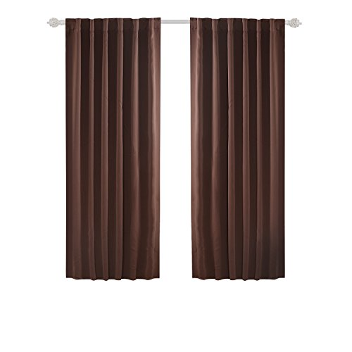 Deconovo Room Darkening Curtains Back Tab and Rod Pocket Curtains Thermal Insulated Blackout Curtains for Bedroom 52x72 Inch Brown Set of 2