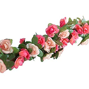 "Aibada 2 Pack 2.5m/98"" Artificial Fake Rose Ivy Vine Garland Flowers Plants Flower for Home Hotel Office Wedding Party Garden Craft Art Decor Pink 113"